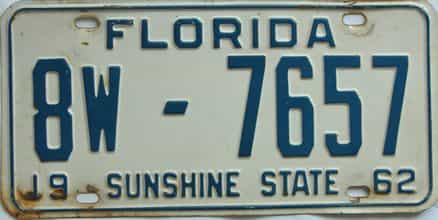 1962 Florida license plate for sale