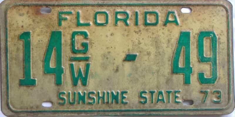 1973 FL (Non Passenger) license plate for sale