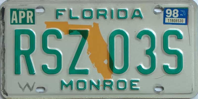 1998 Florida license plate for sale