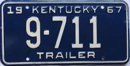 1967 Kentucky (Trailer) license plate for sale