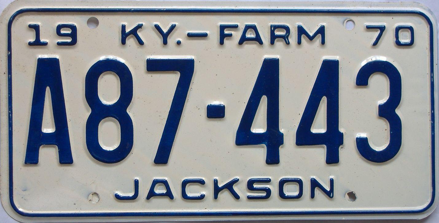 1970 Kentucky (Farm) license plate for sale