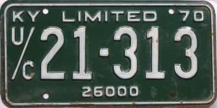 1970 Kentucky (Non Passenger) license plate for sale
