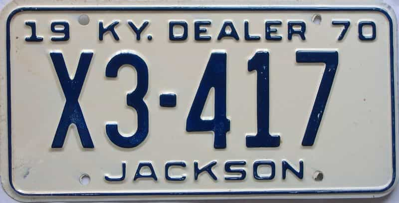 1970 Kentucky (Dealer) license plate for sale