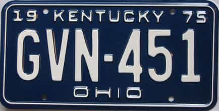 1975 Kentucky license plate for sale