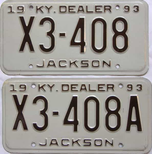 1993 Kentucky  (Pair) license plate for sale