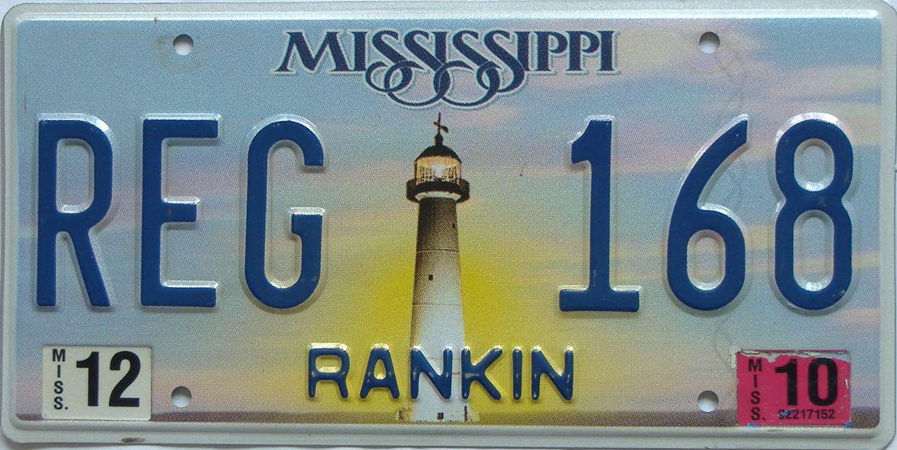 2012 Mississippi license plate for sale