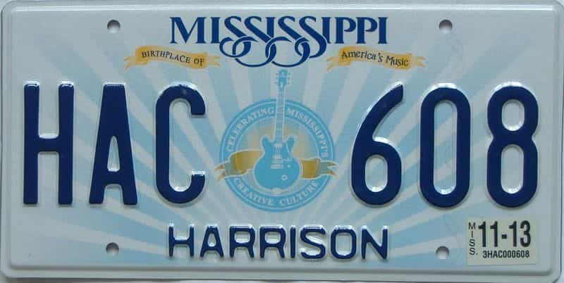 2013 Mississippi (Natural) license plate for sale