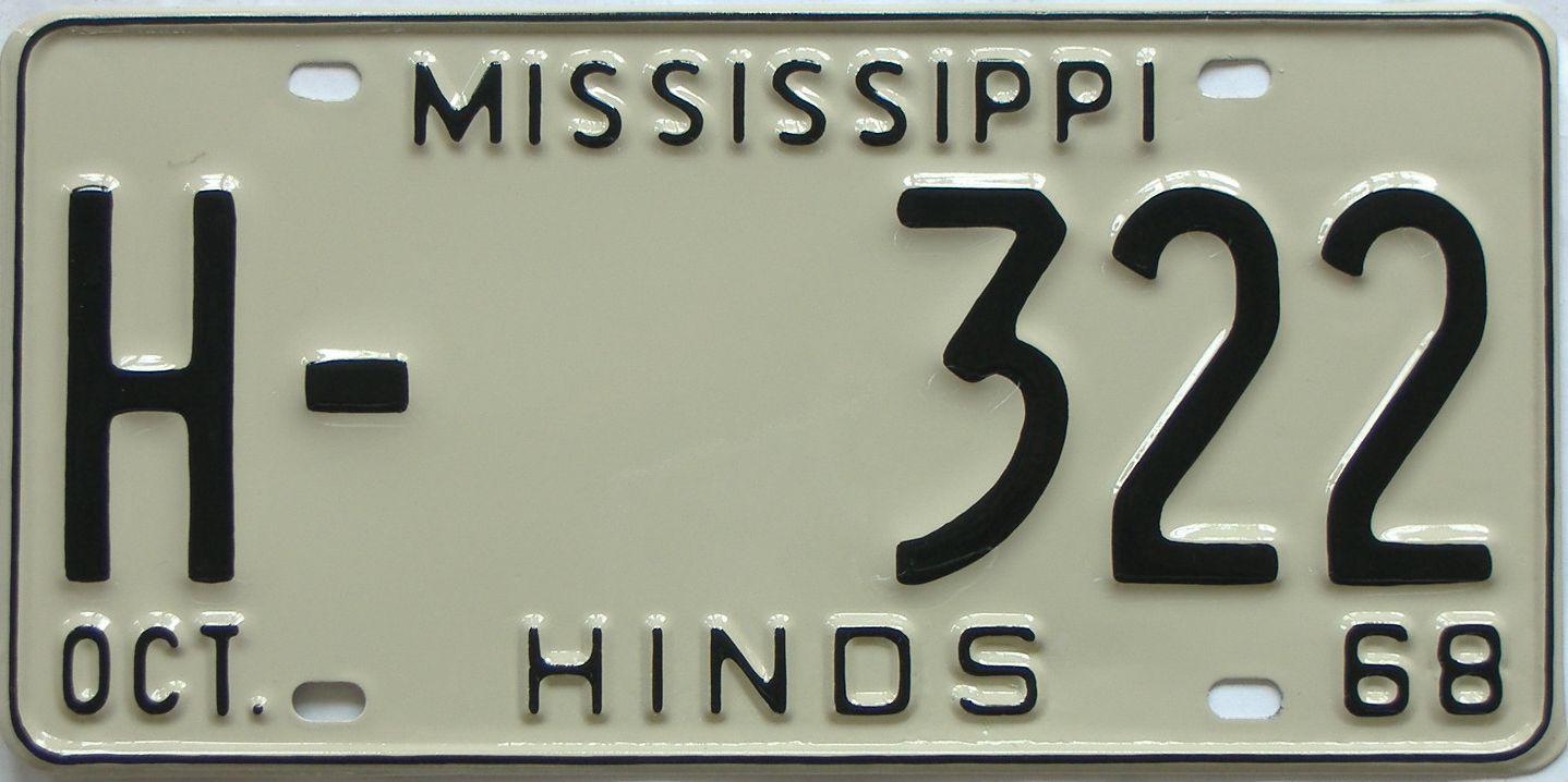 RESTORED 1968 Mississippi license plate for sale