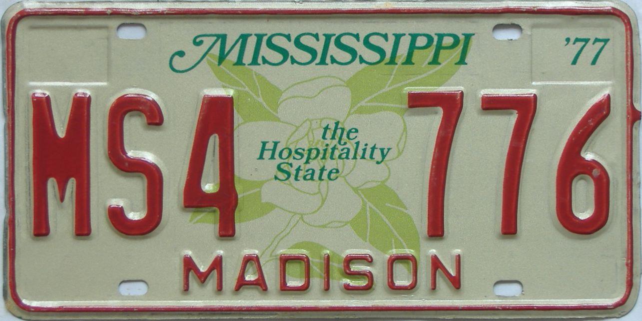 1977 Mississippi license plate for sale