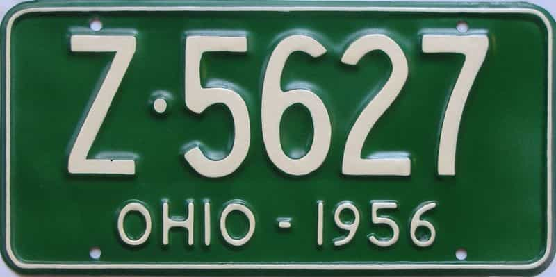 1956 Ohio (Very Nice Repaint) license plate for sale
