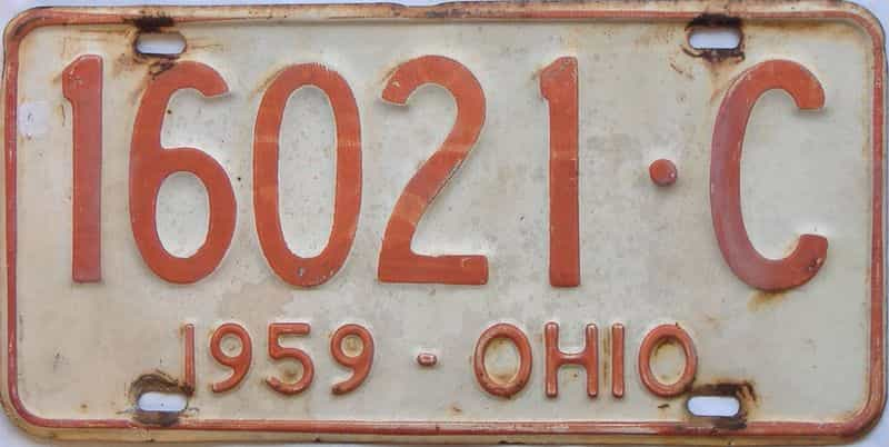1959 OH (Single) license plate for sale