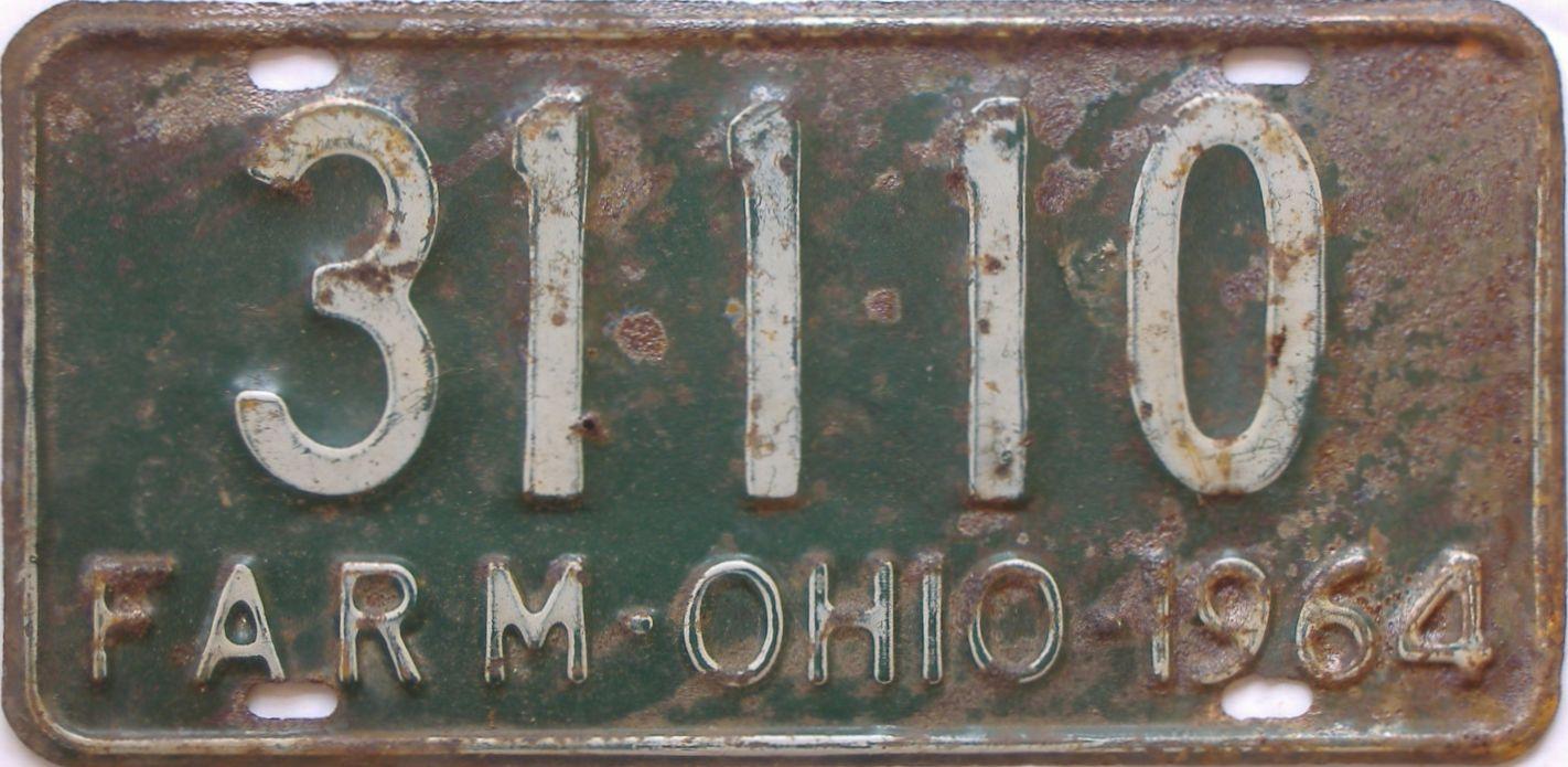 1964 Ohio (Farm) license plate for sale