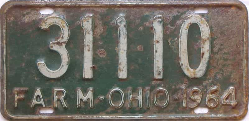 1964 OH (Farm) license plate for sale