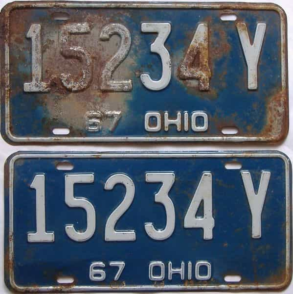 1967 Ohio  (Pair) license plate for sale
