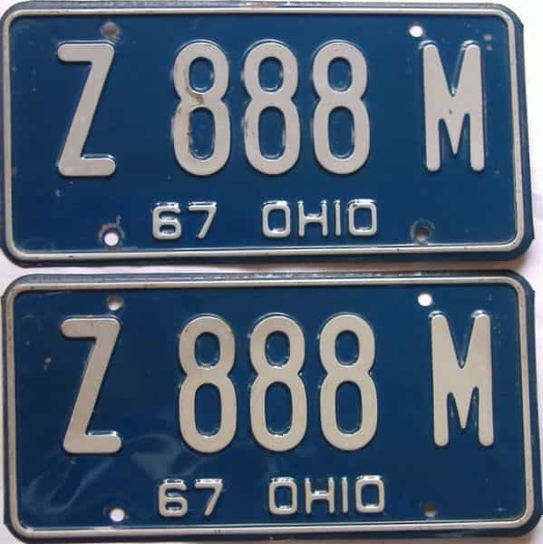 1967 OH (Pair) license plate for sale