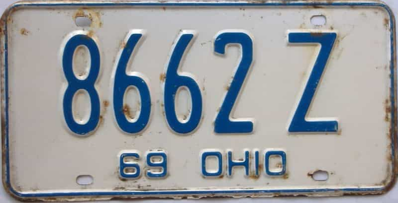 1969 Ohio  (Single) license plate for sale