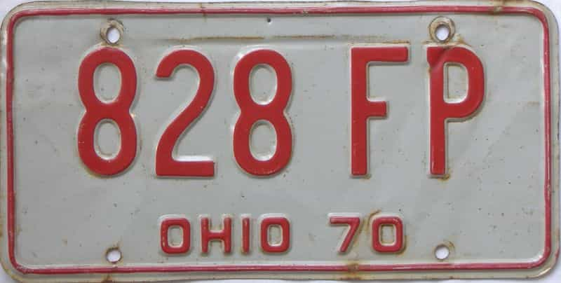 1970 OH (Single) license plate for sale