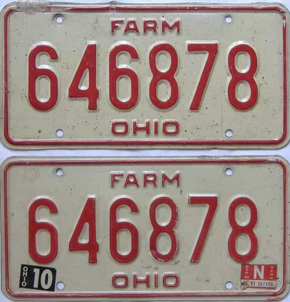 1980 OH (Farm) license plate for sale