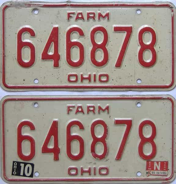 1980 Ohio (Farm) license plate for sale