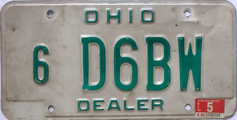 1990 Ohio (Dealer) license plate for sale