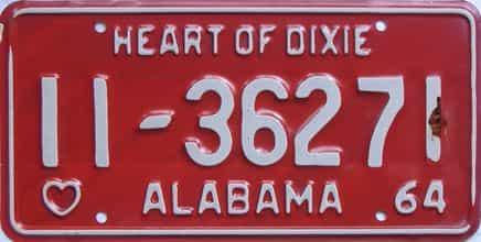 1964 Alabama license plate for sale
