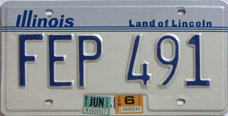 1986 Illinois  (Single) license plate for sale