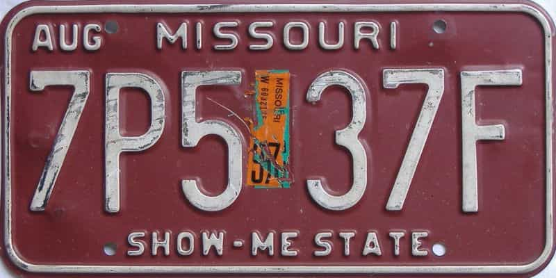 1997 Missouri  (Single) license plate for sale