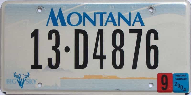 2004 Montana  (Single) license plate for sale