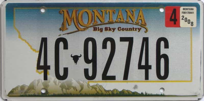 2008 Montana (Single) license plate for sale