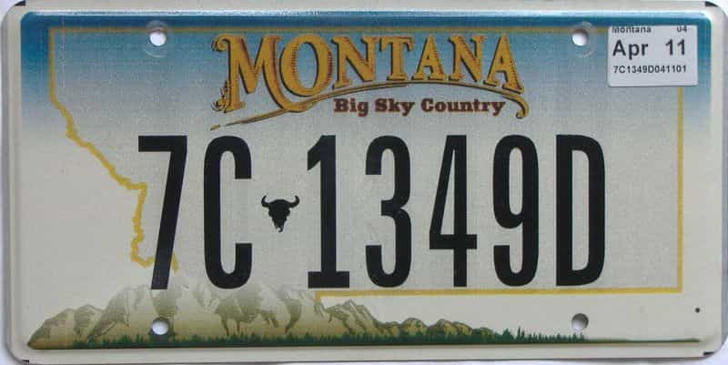 2011 Montana  (Single) license plate for sale