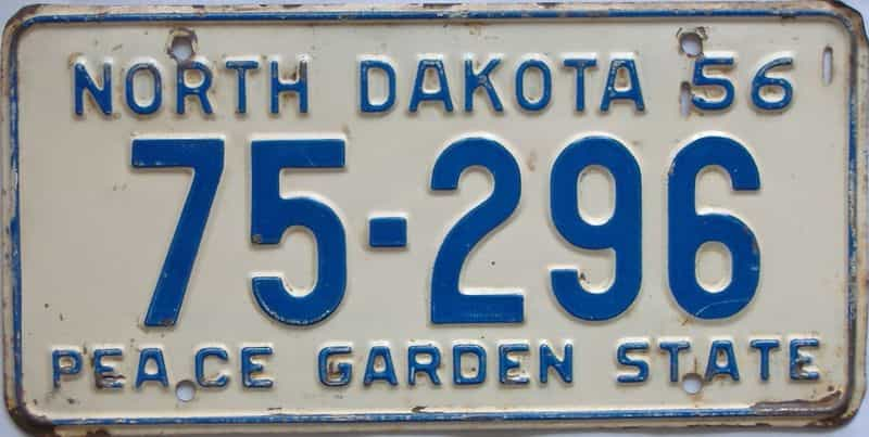 1956 ND (Single) license plate for sale