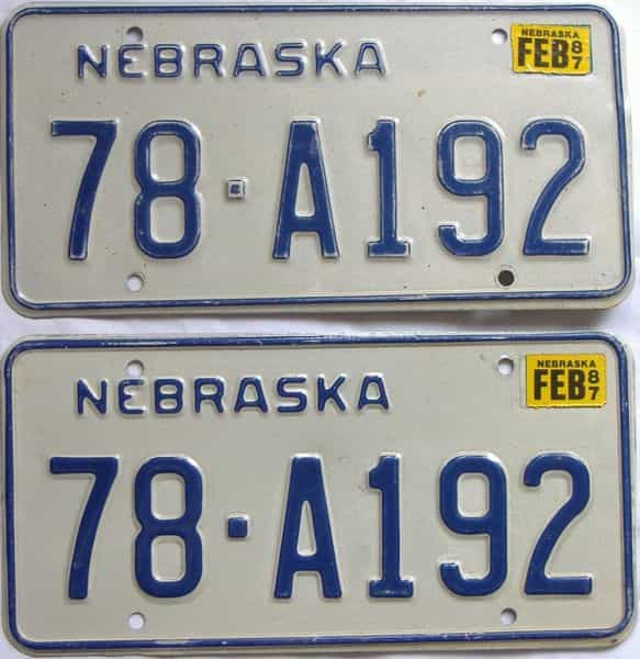 1987 NE (Pair) license plate for sale