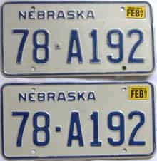 1987 Nebraska (Pair) license plate for sale