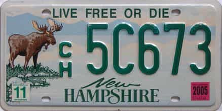 2005 New Hampshire (Natural Single) license plate for sale
