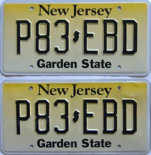 NJ (Pair) license plate for sale