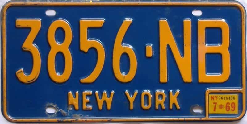 1969 New York (Single) license plate for sale