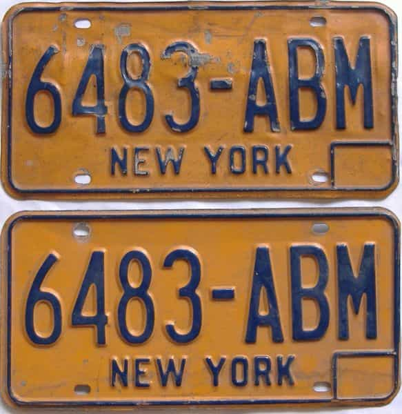 1974 New York (Pair) license plate for sale