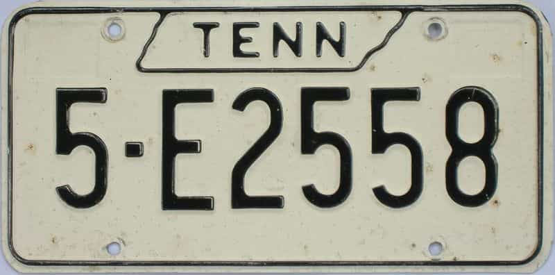 1971 Tennessee  (Single) license plate for sale