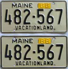 1966 Maine (Pair) license plate for sale