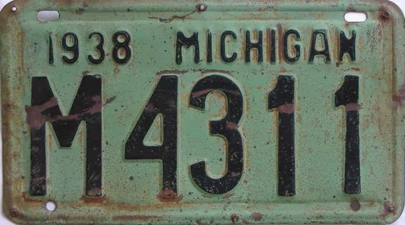 1938 Michigan (Single) license plate for sale