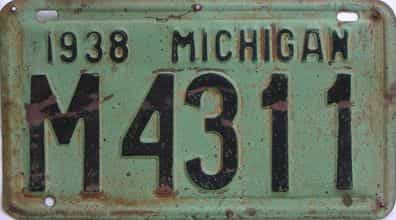 1938 Michigan (Single) license plate for sale