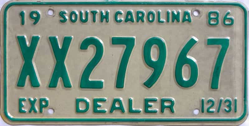 1986 SC (Dealer) license plate for sale