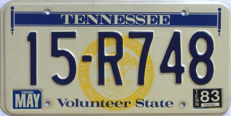 1983 TN license plate for sale
