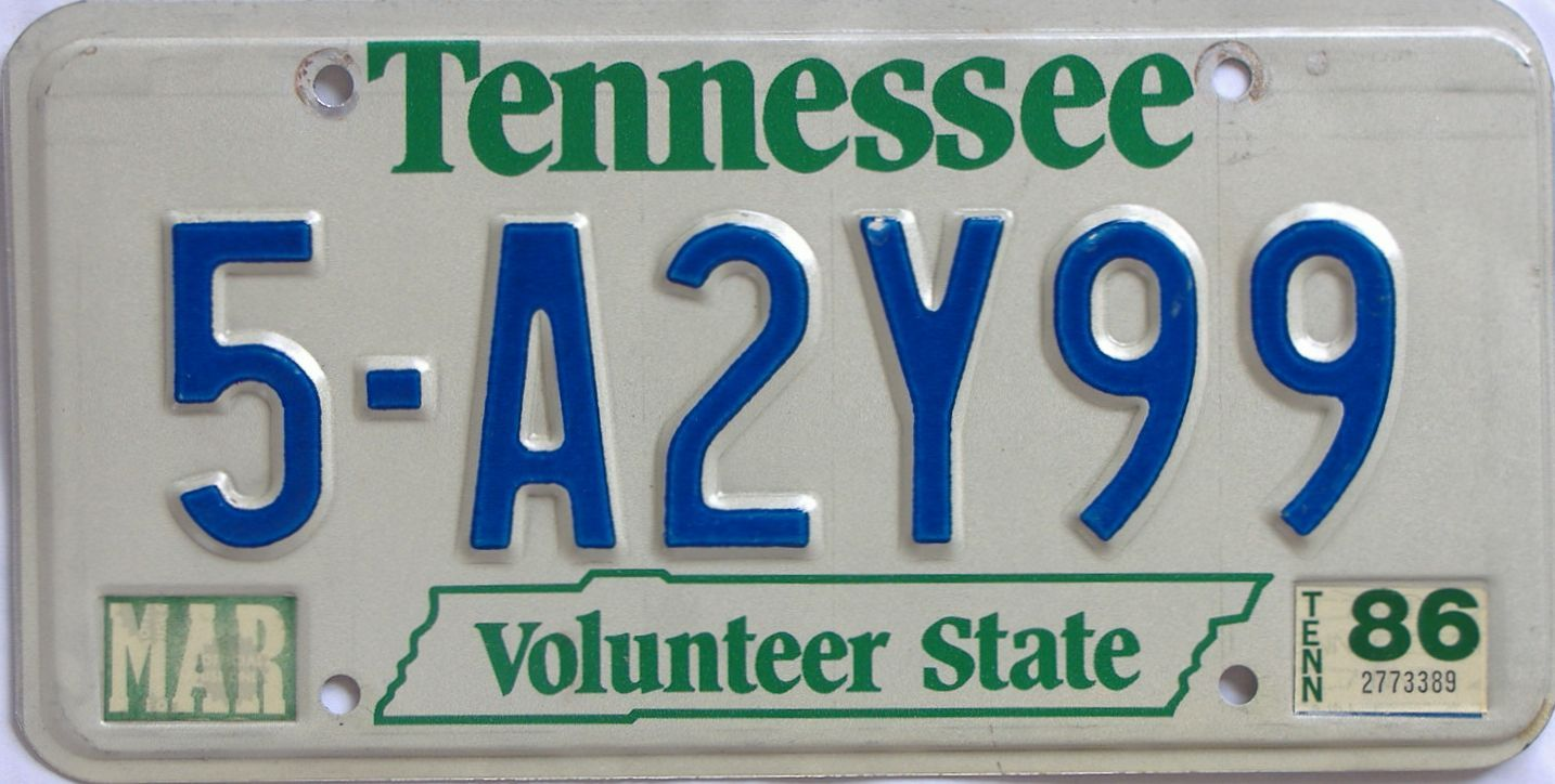 1986 Tennessee license plate for sale