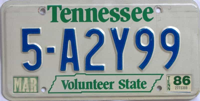 1986 TN license plate for sale