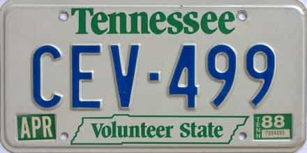 1988 Tennessee (Natural) license plate for sale
