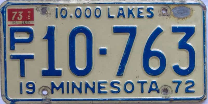 1973 MN (Non Passenger) license plate for sale