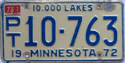 1973 Minnesota (Non Passenger) license plate for sale