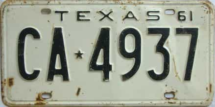 1961 Texas (Single) license plate for sale