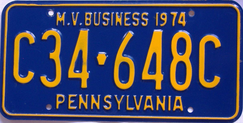 1974 Pennsylvania (Non Passenger) license plate for sale